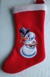 Рождественский  сапожок с вышивкой и аппликацией